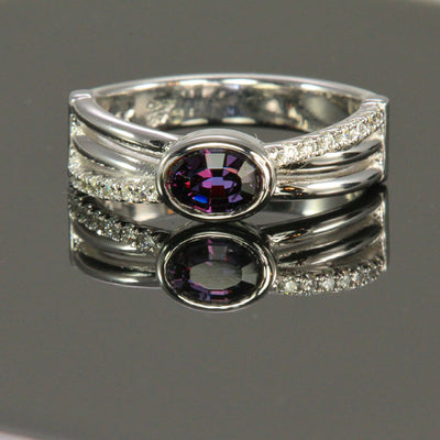 Color Change garnet ring with diamonds