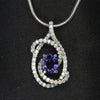 14K White Gold Alexandrite-Like Garnet and Diamond Pendant