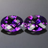 Blue Violet Pair of Checkerboard Oval Amethyst Gemstones 9.38 Carats