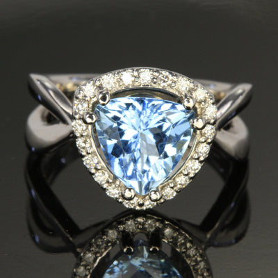 14K White Gold Trillant Shape Aquamarine and Diamond Ring