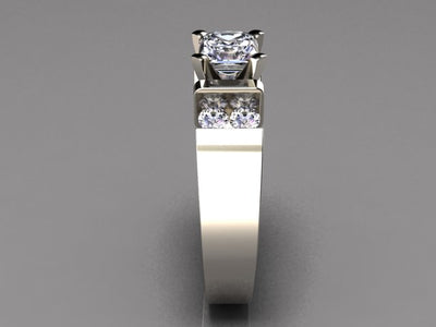 Wide band engagement ring for round or princess diamond center