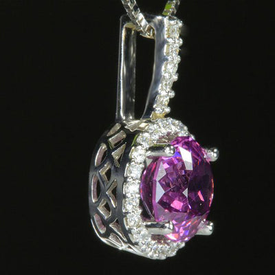 14K White Gold Umbalite Garnet and Diamond Pendant Side View