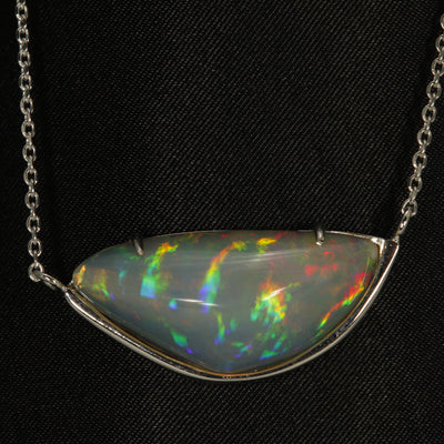 Freeform Cabochon Opal 11.34 Carats in 14 Karat White gold