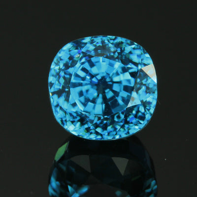Blue Cushion Cut Zircon Gemstone 7.34 Carats