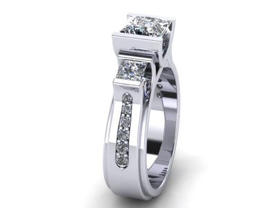Custom Designed Princess Cut Engagement Ring Designed By Christopher Michael