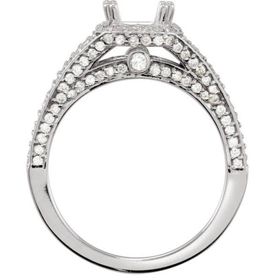 Princess Cut Halo Design Semi Mount