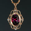 14K Rose Gold Antique Style Rhodolite Garnet Pendant
