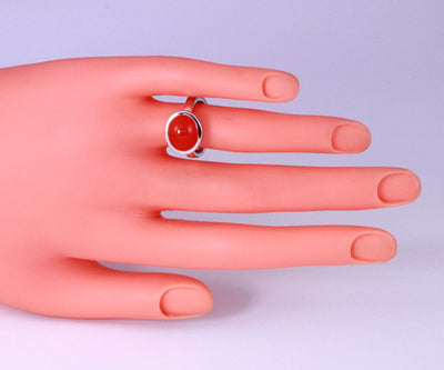 Ladies' Sterling Carnelian Ring Designed by Christopher Michael
