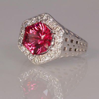 14k White Gold Pink Hexagon Tourmaline With Fine Diamonds Ring