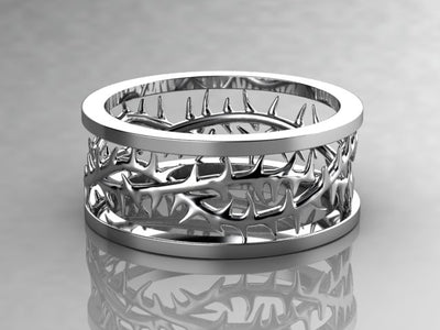 Men's Crown of Thorns Wedding Band by Designer Christopher Michael