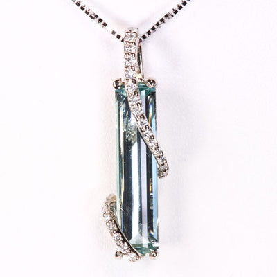 14K White Gold Aquamarine and Cascading Diamond Pendant Designed by Christopher Michael