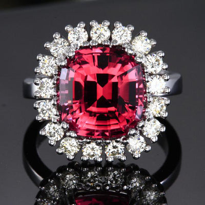 14K White Gold Pink Square Cushion Tourmaline with Fine Diamonds Ring Front