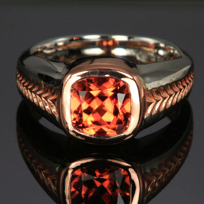 Imperial Zircon Ring in White and Rose Gold