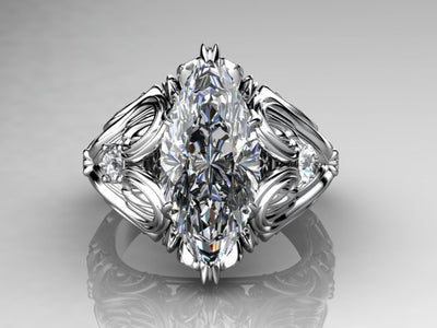 Christopher Michael Designed Marquise Diamond Engagement Ring