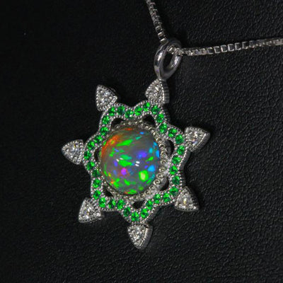 14K White Gold Snowflake Welo Opal with Tsavortie and Diamond Pendant