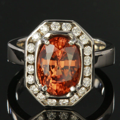 14K White Gold Imperial Zircon Ring With Fine Diamonds