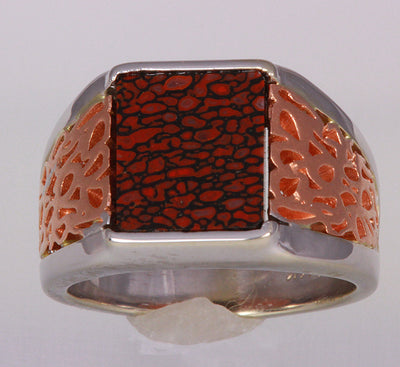 14k White and Rose Gold Dino Bone Ring