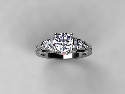 Diamond Engagement Ring For Round or Princess Diamond With Color Accent (Mounting Only)