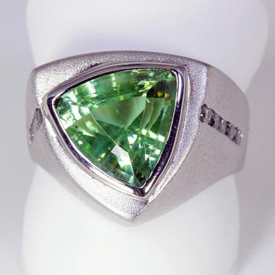 14K White Gold Trilliant Cut Peridot Ring