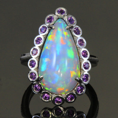 Opal and Amethyst Ring in 14 Karat White Gold