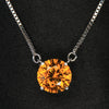 14K White Gold Round Brilliant Golden Orange Zircon Pendant