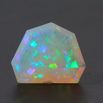 Faceted Shield Welo Opal Gemstone 26.45 Carats
