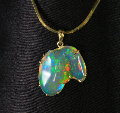 14K Yellow Gold Hand Wired Sculptured Freeform Opal Pendant 8.07 Carats