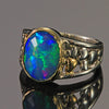 Sterling Silver & 14K Yellow Gold Oval Welo Opal Ring