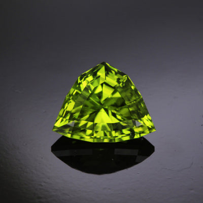 Green Triangular Shield Cut Peridot Gemstone 7.23 Carats