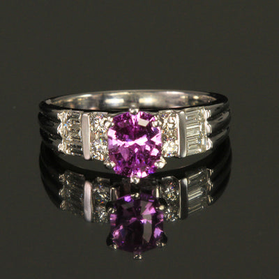 Platinum Antique Cushion Pink Sapphire and Diamond Ring