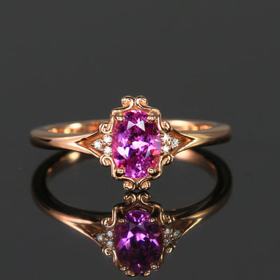 14K Rose Gold Oval Pink Sapphire and Diamond Ring