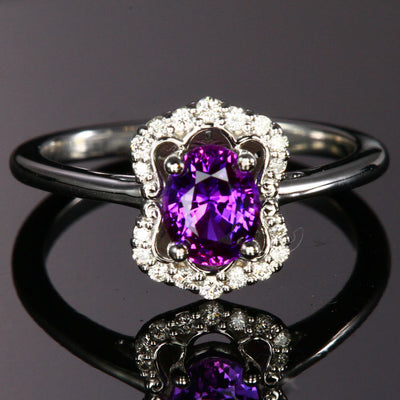 14K White Gold Oval Purple Sapphire Ring with Diamonds 1.04 Carats
