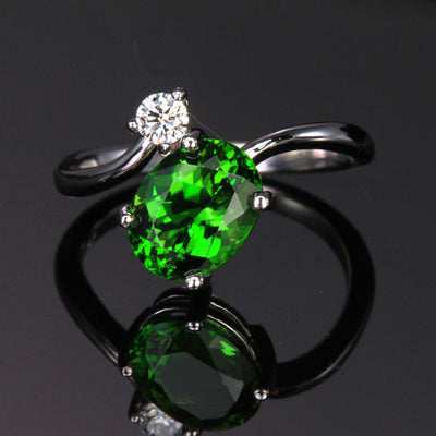 14K White Gold Chrome Tourmaline and Diamond Ring 2.48 Carats