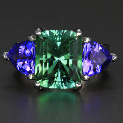 14k White Gold Barion Emerald Cut  Tourmaline and Tanzanite Ring 7.27 Carats