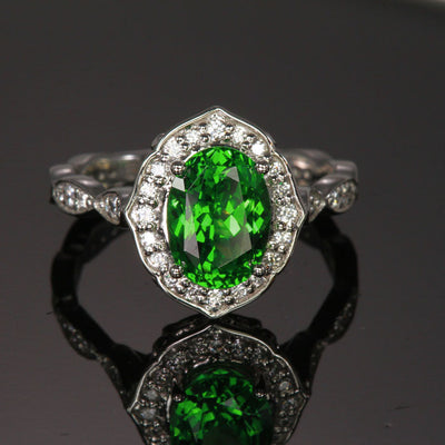 Platinum Tsavorite Garnet and Diamond Ring 2.76 Carats Designed by Christopher Michael