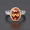 Ladies Platinum 18K Rose Gold Imperial Zircon and Diamond Ring 5.96 Carats