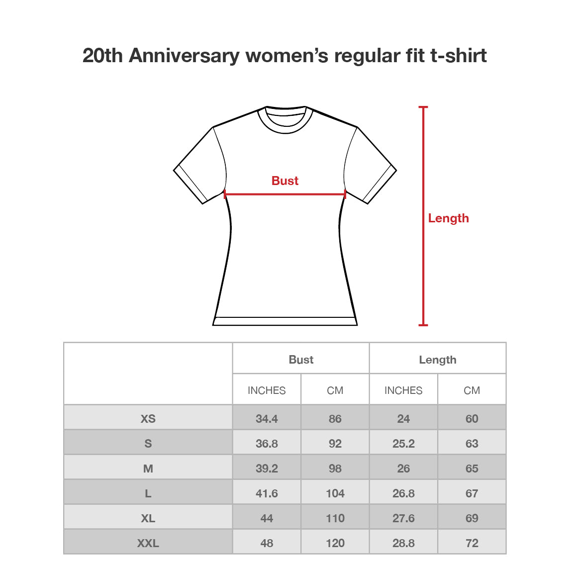 20th Anniversary women t-shirt (off white) Size Chart