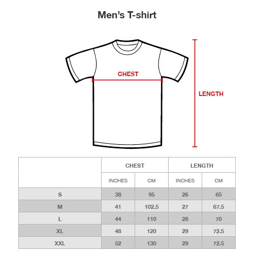 Shit in the woods men t-shirt Size Chart