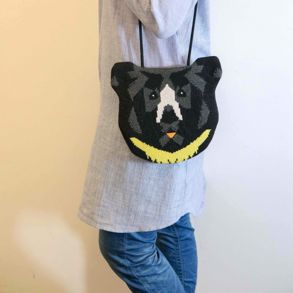 Knitted moon bear bag