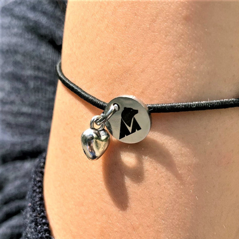 Gift Product - Animals Asia cord bracelet with heart charm (black)