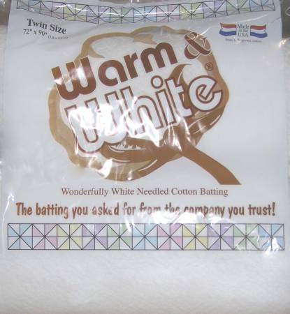 Batting Warm & White Cotton 72in x 90in TWIN