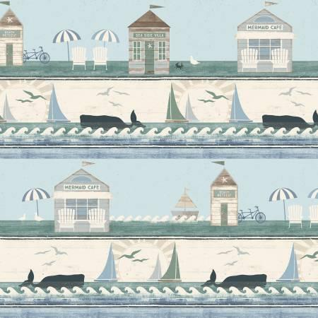 Light Teal Beach House Stripe by Dan DiPaolo