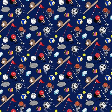 Navy Sports Ball Digital Print