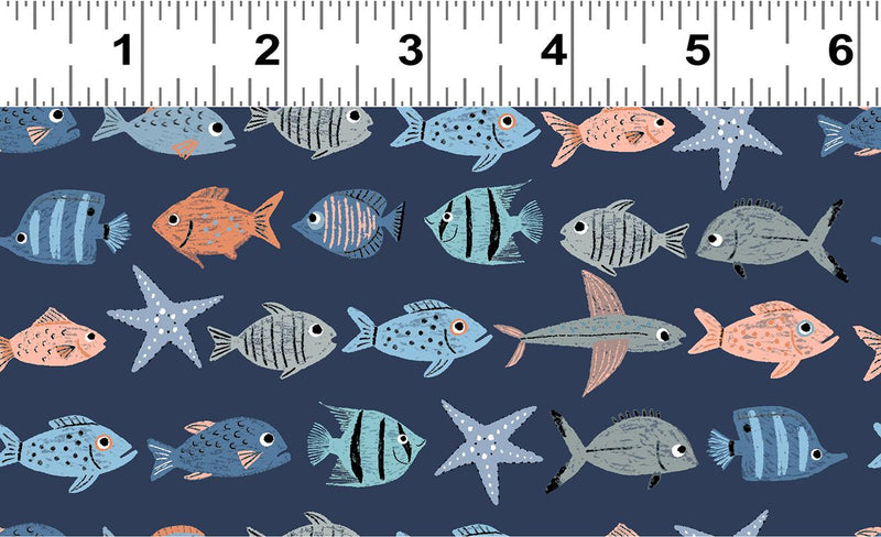 Oceans Away Fish School Light Navy