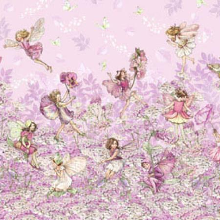 Pink Petal Flower Fairies Border