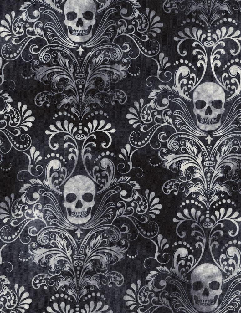 Wicked - Charcoal (Skull Damask)