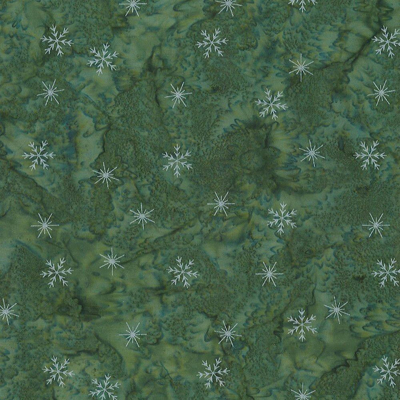 Winter Solstice - Small Snowflakes Green