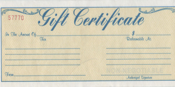 Gift Certificates (In-Store Only)