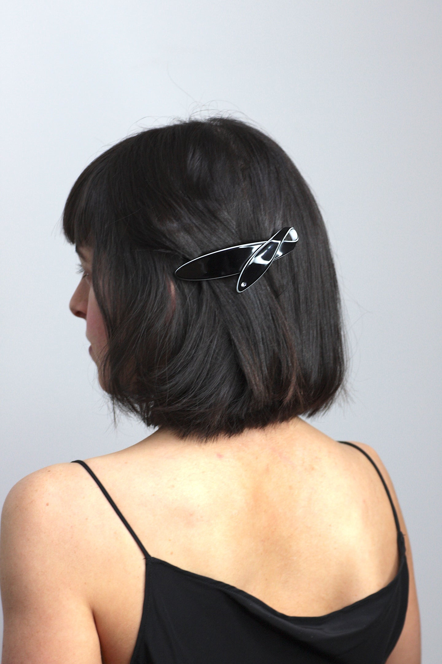 Black & White Barrette Encrusted With Swarovski® Crystal