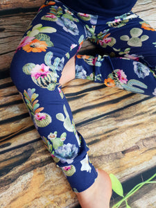 Blue Cactus Leggings